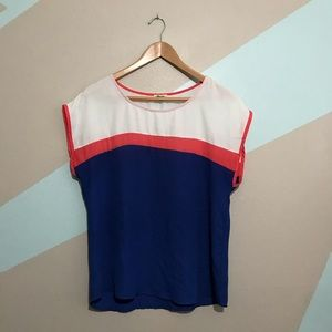 LILY STAR Blue White Pink Color Block Top Large
